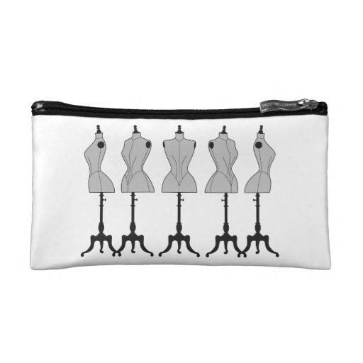 Bag with old, vintage fashion mannequins makeup bags