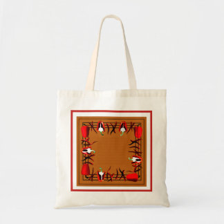 Bag with red peppers  and red  border