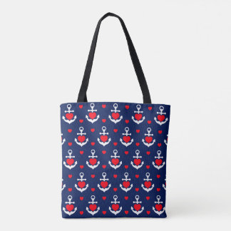 Bag with romantic marine anchors and hearts