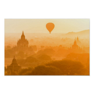 Bagan Myanmar Balloon Travel Poster