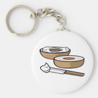 bagel and cream cheese basic round button key ring