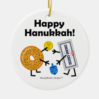 Bagel & Cream Cheese - Happy Hanukkah! Ceramic Ornament