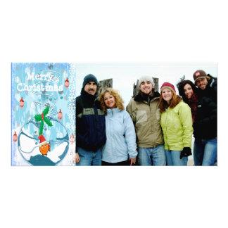 Bagged Fish Slpat & Snowflake Merry Christmas Customized Photo Card