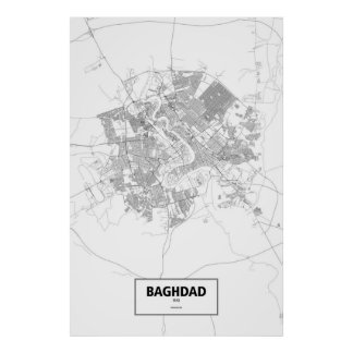 Baghdad, Iraq (black on white) Poster