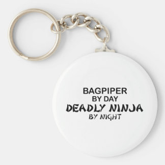 Bagpiper Deadly Ninja by Night Basic Round Button Key Ring