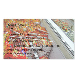 Bags of chips in freezer cabinet business card template
