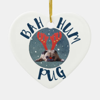 Bah Hum Pug Christmas Collection Ceramic Ornament