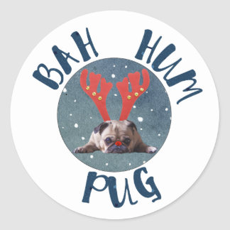 Bah Hum Pug Christmas Collection Classic Round Sticker