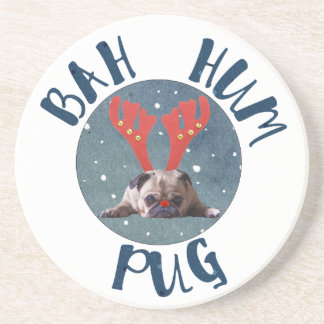Bah Hum Pug Christmas Collection Coaster