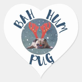Bah Hum Pug Christmas Collection Heart Sticker