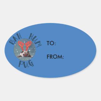 Bah Hum Pug Christmas Collection Oval Sticker