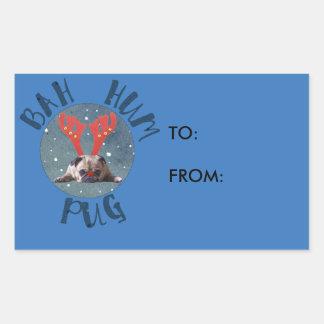 Bah Hum Pug Christmas Collection Rectangular Sticker