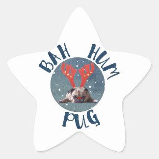 Bah Hum Pug Christmas Collection Star Sticker
