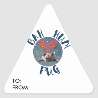 Bah Hum Pug Christmas Collection Triangle Sticker