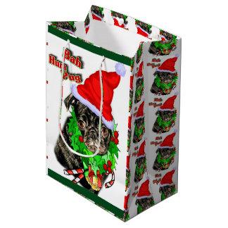 Bah Hum Pug Christmas Medium Gift Bag