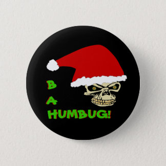 BAH, HUMBUG! Anti Christmas Skull Round Button