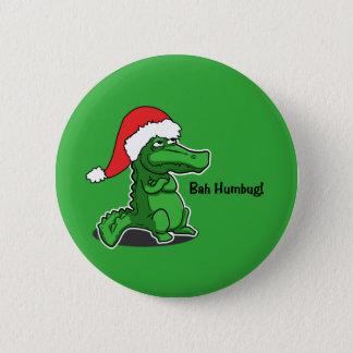 Bah Humbug! Fun, Alligator with Santa hat 6 Cm Round Badge