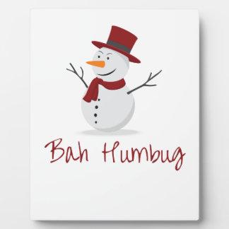 Bah Humbug -  Mischievous Snowman  - Christmas Plaque
