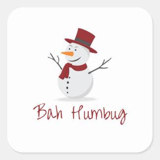 Bah Humbug -  Mischievous Snowman  - Christmas Square Sticker