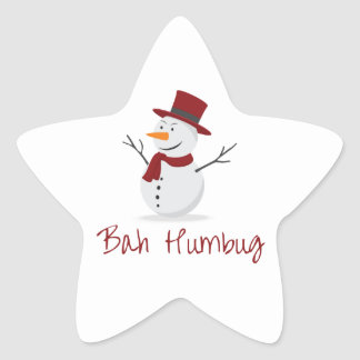 Bah Humbug -  Mischievous Snowman  - Christmas Star Sticker