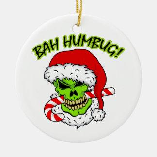 Bah Humbug Skull Ceramic Ornament
