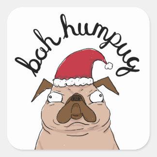Bah Humpug Christmas Santa Pug Square Sticker