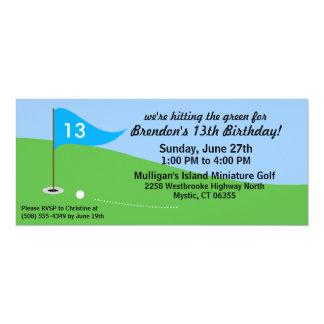 Bahama Blue Hit the Green Golf Birthday Party Card