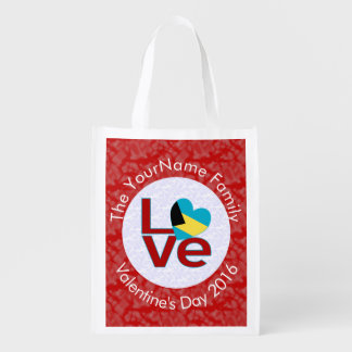 Bahamanian LOVE White on Red Reusable Grocery Bag