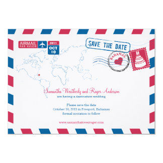 Bahamas Air Mail Wedding Save The Date Card
