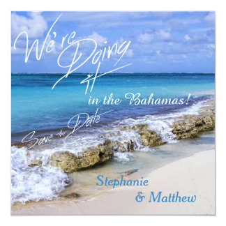BAHAMAS BEACH SHORE Wedding Save the Date Card