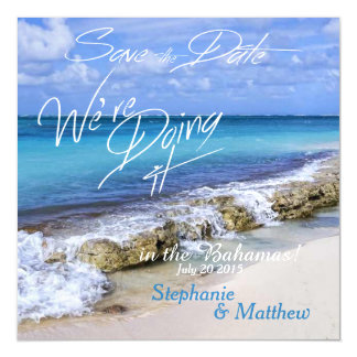 BAHAMAS BEACH SHORE Wedding Save the Date Magnetic Card