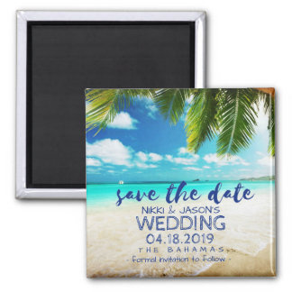 Bahamas Beach Wedding Save the Date Magnets