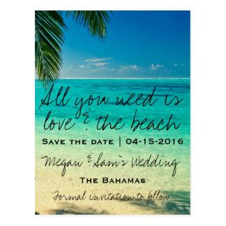 Bahamas Destination Wedding Save the Date Postcard