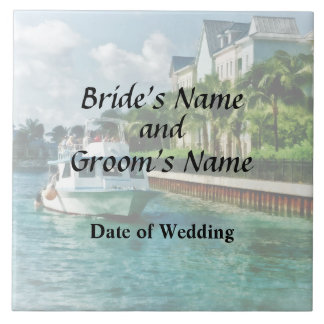 Bahamas - Ferry to Paradise island Wedding Product Large Square Tile