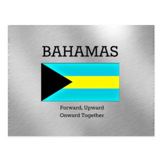 Bahamas flag and motto postcard