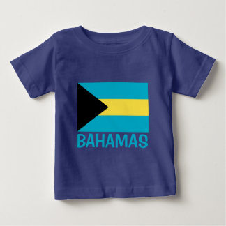 Bahamas Flag Customizable Blue Text Baby T-Shirt