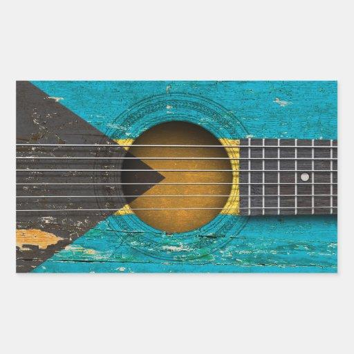 Bahamas Flag on Old Acoustic Guitar Sticker