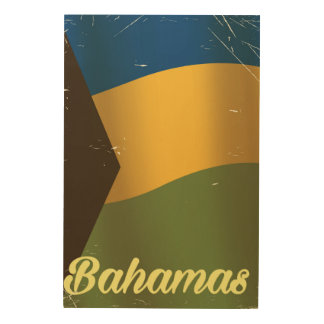 Bahamas national flag vintage travel poster wood canvases