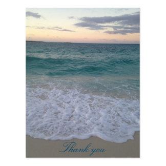 Bahamas sunset thank you postcard