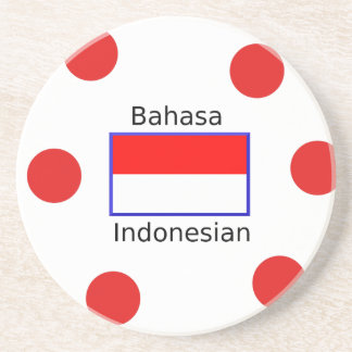 Bahasa Language And Indonesian Flag Design Coaster