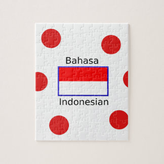 Bahasa Language And Indonesian Flag Design Jigsaw Puzzle