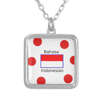 Bahasa Language And Indonesian Flag Design Silver Plated Necklace