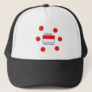Bahasa Language And Indonesian Flag Design Trucker Hat