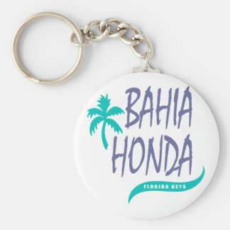 Bahia Honda Florida Keys palm tree Basic Round Button Key Ring