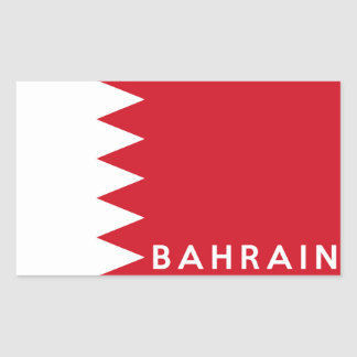 bahrain country flag symbol name text rectangular sticker