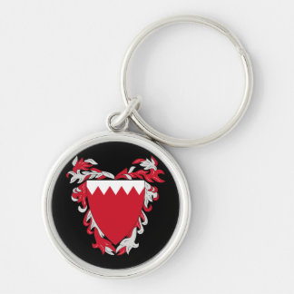 bahrain emblem Silver-Colored round key ring