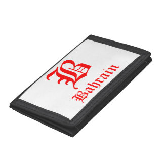 Bahrain Letter B Black TriFold Nylon Wallet