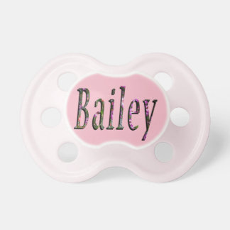 Bailey, Name, Logo, Baby Girls Pink Pacifier