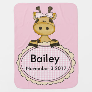 Bailey's Personalized Giraffe Buggy Blankets
