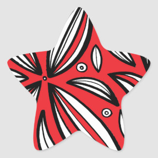 Bair Abstract Expression Red White Star Sticker